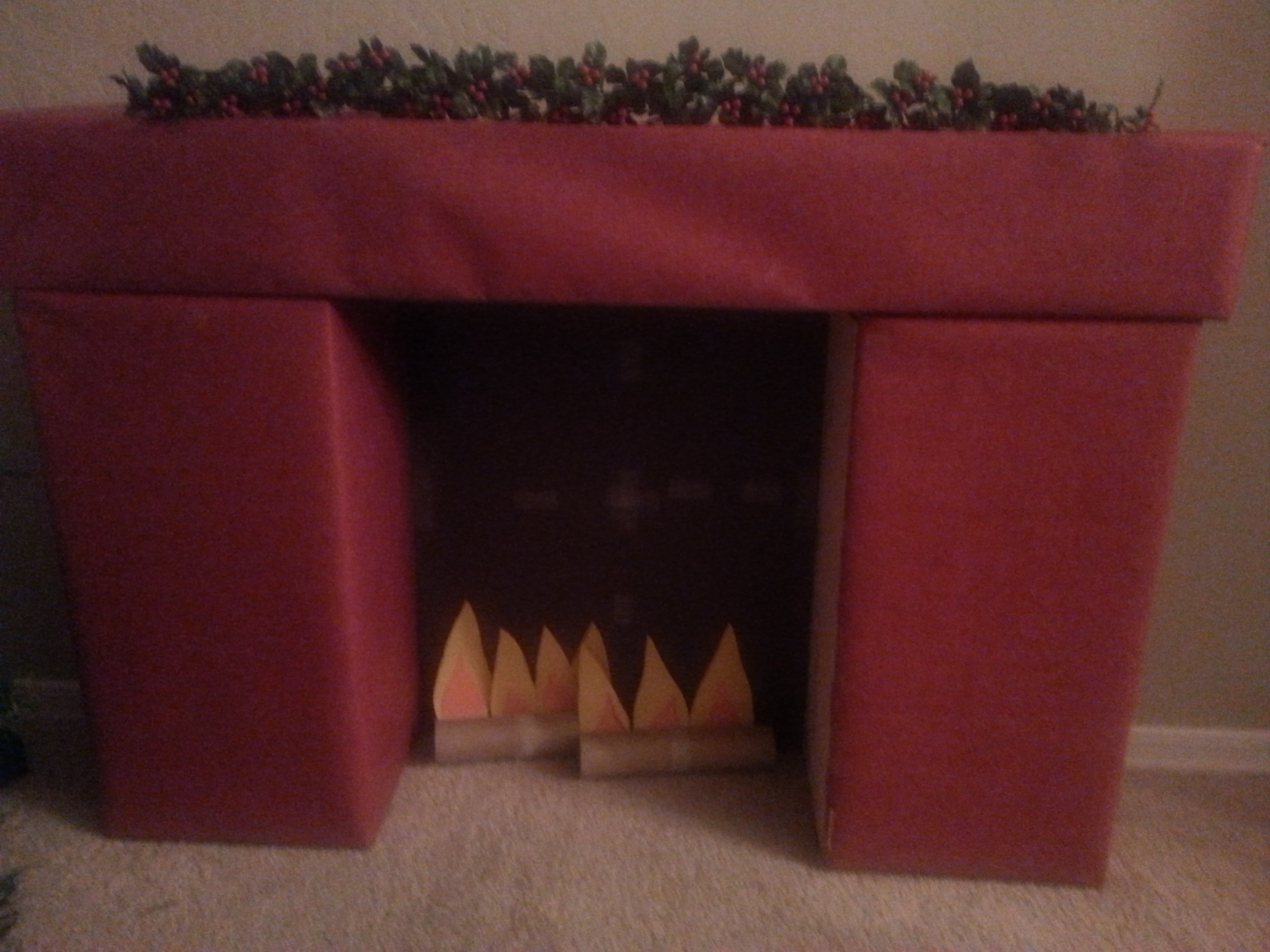 cardboard fireplace for a moment for